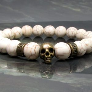 Shop Howlite Bracelets! Howlite Bracelet with Skull,Men Bracelet,Skull Bracelet,Mens Gift,Mens Bracelet,Gift for Men,Men Gemstone Bracelet,Mens Beaded Bracelet | Natural genuine Howlite bracelets. Buy handcrafted artisan men's jewelry, gifts for men.  Unique handmade mens fashion accessories. #jewelry #beadedbracelets #beadedjewelry #shopping #gift #handmadejewelry #bracelets #affiliate #ad