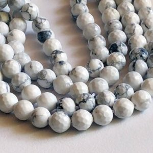 Shop Howlite Faceted Beads! 8.5-9mm Howlite Beads, Natural Round Faceted Howlite Beads, 13 Inch Strand, 45 Pcs, 1mm Hole Howlite Necklace – ANT36 | Natural genuine faceted Howlite beads for beading and jewelry making.  #jewelry #beads #beadedjewelry #diyjewelry #jewelrymaking #beadstore #beading #affiliate #ad