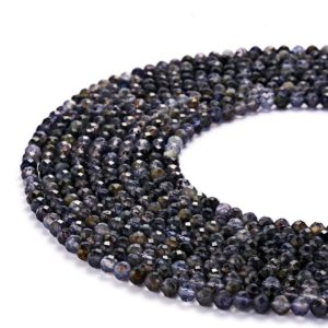 Shop Iolite Faceted Beads! Natural Iolite Faceted Round Gemstone Loose Beads. Size 2mm/3mm/4mm/6mm. 15.5 Inches Long Per Strand.GEM-0730049-18 | Natural genuine faceted Iolite beads for beading and jewelry making.  #jewelry #beads #beadedjewelry #diyjewelry #jewelrymaking #beadstore #beading #affiliate #ad