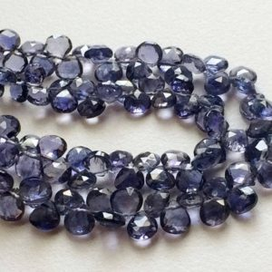 3.5 Inches Iolite Heart Beads, 40 Pcs Beautiful Violet Blue Iolite Faceted Heart Beads, Iolite Necklace, 4.5-5mm – A2J4 | Natural genuine other-shape Gemstone beads for beading and jewelry making.  #jewelry #beads #beadedjewelry #diyjewelry #jewelrymaking #beadstore #beading #affiliate #ad