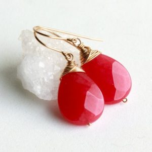 Shop Jade Earrings! Pink Jade Gold Filled Earrings wire wrapped fuchsia gemstone minimalist simple everyday statement dangle drops holiday gift for her 4882 | Natural genuine Jade earrings. Buy crystal jewelry, handmade handcrafted artisan jewelry for women.  Unique handmade gift ideas. #jewelry #beadedearrings #beadedjewelry #gift #shopping #handmadejewelry #fashion #style #product #earrings #affiliate #ad