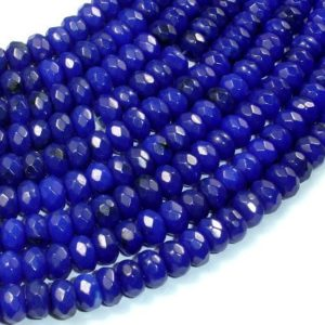 Shop Jade Faceted Beads! Dark Blue Jade, Approx 5x8mm Faceted Rondelle , 15.5 Inch, Full strand, Approx 78 beads, Hole 1 mm, A quality (211024016) | Natural genuine faceted Jade beads for beading and jewelry making.  #jewelry #beads #beadedjewelry #diyjewelry #jewelrymaking #beadstore #beading #affiliate