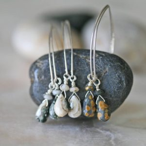 Shop Ocean Jasper Jewelry! Jasper Dangle Earrings, Silver Earrings, Ocean Jasper Earrings, Green Jasper Earrings, Cream Jasper Earrings, Small Earrings, Spotted Jasper | Natural genuine Ocean Jasper jewelry. Buy crystal jewelry, handmade handcrafted artisan jewelry for women.  Unique handmade gift ideas. #jewelry #beadedjewelry #beadedjewelry #gift #shopping #handmadejewelry #fashion #style #product #jewelry #affiliate #ad