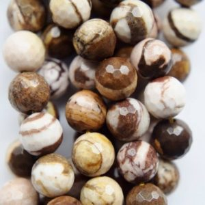 "Shop Jasper Faceted Beads! Natural Faceted Australian Zebra Jasper Beads – Round 8 mm Gemstone Beads – Full Strand 15 1/2"", 47 beads, A Quality 