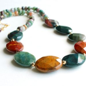 Shop Jasper Necklaces! Fancy Jasper Necklace, 14k Goldfilled, Natural Gemstone, Multi Color, Green Red Yellow, Boho Luxe, Artisan, Holiday Gift For Her, 5168 | Natural genuine Jasper necklaces. Buy crystal jewelry, handmade handcrafted artisan jewelry for women.  Unique handmade gift ideas. #jewelry #beadednecklaces #beadedjewelry #gift #shopping #handmadejewelry #fashion #style #product #necklaces #affiliate #ad