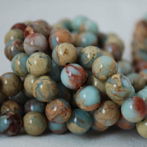 "Shop Jasper Beads! High Quality Grade A Natural Impression Jasper (blue) Semi-precious Gemstone Round Beads – 4mm, 6mm, 8mm, 10mm sizes – 16"" strand 