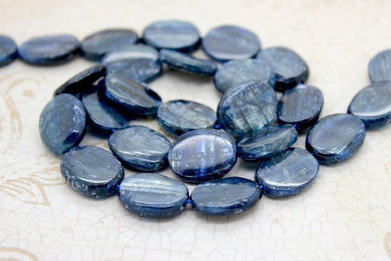 "Dark Blue Kyanite Smooth Flat Oval Beads Loose Natural Gemstone (10mm X 13mm, 10mm X 15mm) - 15.5"" Full Strand"