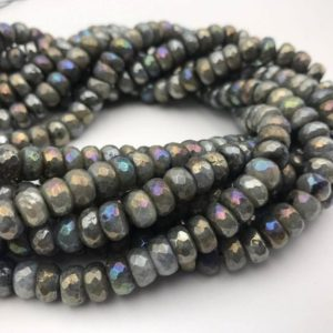 Shop Labradorite Faceted Beads! Gorgeous Rainbow Labradorite Faceted Rondelle Loose Beads Size 4x6mm/5x8mm/6x10mm/7x12mm, 15.5'' Long Per Strand. | Natural genuine faceted Labradorite beads for beading and jewelry making.  #jewelry #beads #beadedjewelry #diyjewelry #jewelrymaking #beadstore #beading #affiliate #ad
