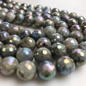 Shop Labradorite Faceted Beads! Gorgeous Rainbow Labradorite Faceted Round Loose Beads Size 6mm/8mm/10mm/12mm, 15.5'' Long Per Strand. | Natural genuine faceted Labradorite beads for beading and jewelry making.  #jewelry #beads #beadedjewelry #diyjewelry #jewelrymaking #beadstore #beading #affiliate #ad