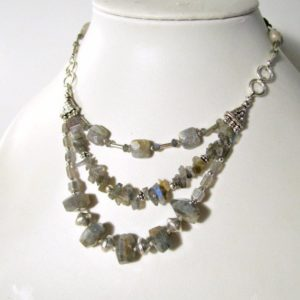Gray Labradorite Necklace – Statement Necklace – Sterling Silver Jewelry – Multi Strand Jewellery – Triple Strand – Grey – Gemstone N-121 | Natural genuine Gemstone necklaces. Buy crystal jewelry, handmade handcrafted artisan jewelry for women.  Unique handmade gift ideas. #jewelry #beadednecklaces #beadedjewelry #gift #shopping #handmadejewelry #fashion #style #product #necklaces #affiliate #ad