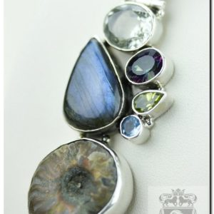 Shop Labradorite Pendants! Blue Fire Labradorite Ammonite Fossil 925 Sterling Silver Pendant  4MM Italian Snake Chain P963 | Natural genuine Labradorite pendants. Buy crystal jewelry, handmade handcrafted artisan jewelry for women.  Unique handmade gift ideas. #jewelry #beadedpendants #beadedjewelry #gift #shopping #handmadejewelry #fashion #style #product #pendants #affiliate #ad