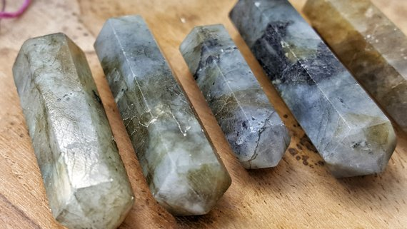 Labradorite Double Terminated Point  - Hand Cut Natural Stone Point For Crystal Grids Or Terrarium 153