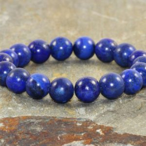 10mm Lapis Lazuli Bracelet, Throat Chakra Jewelry, Wrist Mala Beads, Stress Relief-Feminine Power- Communication-Emotionally Soothing | Natural genuine Gemstone bracelets. Buy crystal jewelry, handmade handcrafted artisan jewelry for women.  Unique handmade gift ideas. #jewelry #beadedbracelets #beadedjewelry #gift #shopping #handmadejewelry #fashion #style #product #bracelets #affiliate #ad