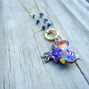 Shop Lapis Lazuli Pendants! Navy Blue Necklace – Cloisonne Butterfly – Lapis Lazuli Jewellery – Gold Jewelry – Gemstone – Pendant – Chain N-164 | Natural genuine Lapis Lazuli pendants. Buy crystal jewelry, handmade handcrafted artisan jewelry for women.  Unique handmade gift ideas. #jewelry #beadedpendants #beadedjewelry #gift #shopping #handmadejewelry #fashion #style #product #pendants #affiliate #ad