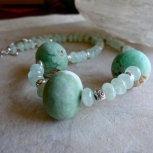 Shop Chrysoprase Jewelry! Large Matte Raw Stone Chrysoprase and Transluscent Prehnite Rondelles Artisan Statement Necklace and Earrings | Natural genuine Chrysoprase jewelry. Buy crystal jewelry, handmade handcrafted artisan jewelry for women.  Unique handmade gift ideas. #jewelry #beadedjewelry #beadedjewelry #gift #shopping #handmadejewelry #fashion #style #product #jewelry #affiliate #ad