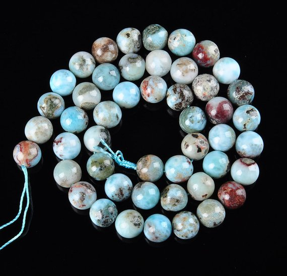 "Natural Larimar Smooth Round Size 6mm 8mm 10mm 12mm 15.5"" Strand"