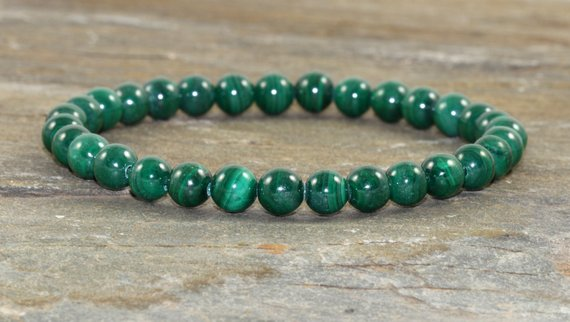 Aaa Grade Malachite Bracelet, 6mm Malachite Jewelry, Yoga Chakra Healing Crystals,emf Protection, Manifestation-confidence-healing The Heart
