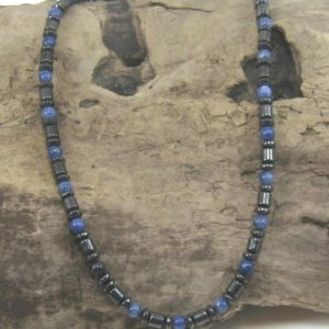 Shop Sodalite Necklaces! Men's Magnetite Sodalite Necklace Magnetite Jewelry  Brazilian Magnetite Magnetic Jewelry Loadstone therapeutic  shoulder  headaches asthma | Natural genuine Sodalite necklaces. Buy crystal jewelry, handmade handcrafted artisan jewelry for women.  Unique handmade gift ideas. #jewelry #beadednecklaces #beadedjewelry #gift #shopping #handmadejewelry #fashion #style #product #necklaces #affiliate #ad