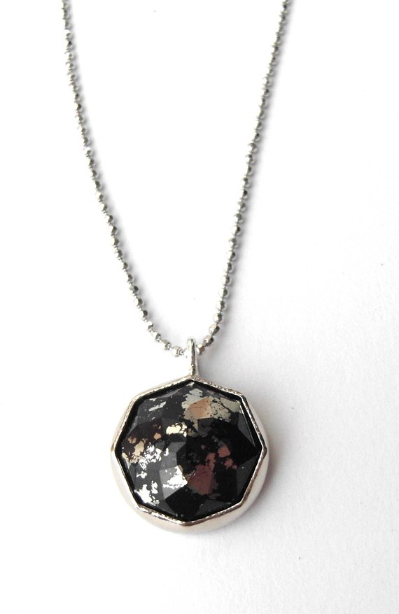 Pyrite Gemstone Necklace With 14k Recycled Gold, Faceted Pyrite Pendant, Handcrafted And Made To Order