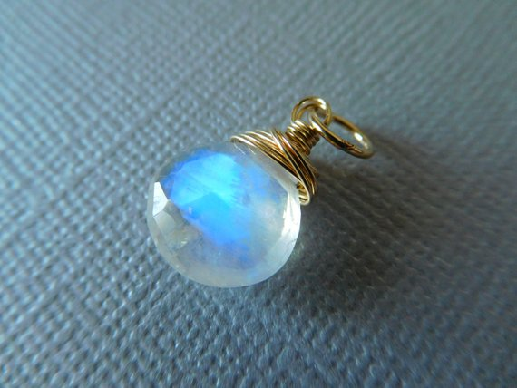 Moonstone Charm Pendant Heart Briolette Drop Add A Dangle / 17-20 Mm, Sterling Silver Or 14k Gold Filled / June Birthstone Bridal Gd1 Solo