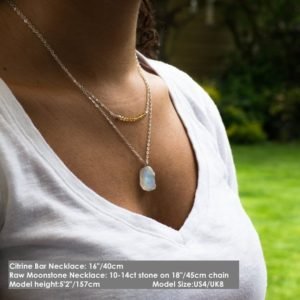 Raw Moonstone Necklace, Crystal Necklace, Rainbow Moonstone Pendant, Large Raw Moonstone Jewelry, June Birthstone Necklace Silver or Gold | Natural genuine Array jewelry. Buy crystal jewelry, handmade handcrafted artisan jewelry for women.  Unique handmade gift ideas. #jewelry #beadedjewelry #beadedjewelry #gift #shopping #handmadejewelry #fashion #style #product #jewelry #affiliate #ad