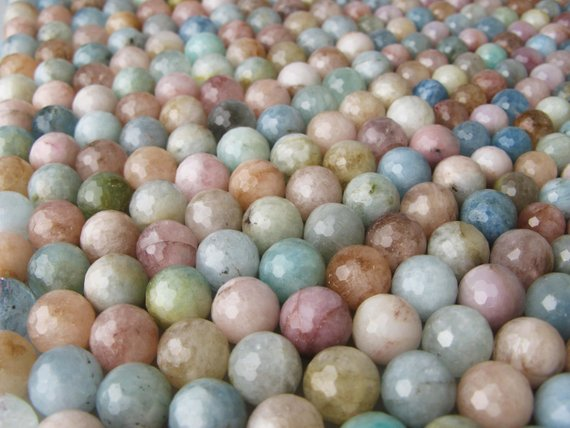 Faceted Morganite Round Gemstone Loose Beads Approximate 15.5 Inch Per Strand Size 8 / 10 / 12mm