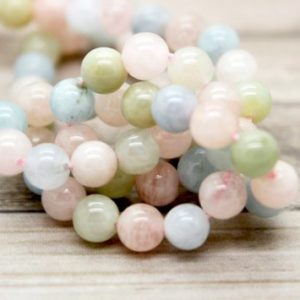 Shop Morganite Round Beads! Natural Morganite Polished Round Beads Gemstone (4mm 6mm 8mm 10mm) | Natural genuine round Morganite beads for beading and jewelry making.  #jewelry #beads #beadedjewelry #diyjewelry #jewelrymaking #beadstore #beading #affiliate #ad