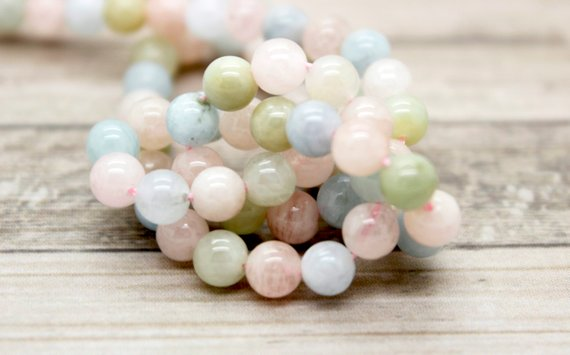Natural Morganite Polished Smooth Round Ball Loose Beads Gemstone (4mm 6mm 8mm 10mm)