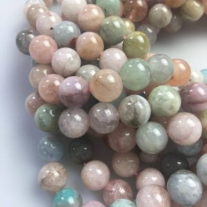 "Morganite Smooth Round Beads 4mm 6mm 8mm 10mm 12mm 15.5"" Strand 