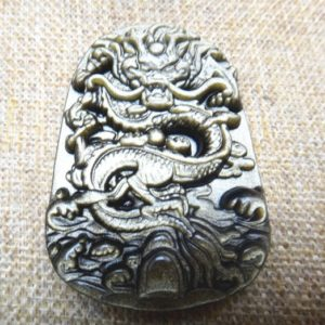 Natural Gold Obsidian stone Chinese dragon pendant amulet | Natural genuine stones & crystals in various shapes & sizes. Buy raw cut, tumbled, or polished gemstones for making jewelry or crystal healing energy vibration raising reiki stones. #crystals #gemstones #crystalhealing #crystalsandgemstones #energyhealing #affiliate #ad