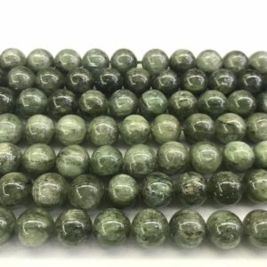 Shop Kyanite Round Beads! Natural Kyanite Green 8mm/10mm/12mm Round Genuine Quartz Loose Beads 15 inch Jewelry Supply Bracelet Necklace Material Support | Natural genuine round Kyanite beads for beading and jewelry making.  #jewelry #beads #beadedjewelry #diyjewelry #jewelrymaking #beadstore #beading #affiliate