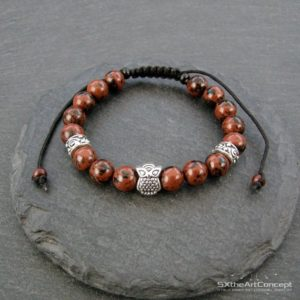 Mahogany Obsidian owl bracelet, a stacking wristband with anxiety stone, Yoga mala, gift for him or her, men jewelry | Natural genuine Gemstone bracelets. Buy crystal jewelry, handmade handcrafted artisan jewelry for women.  Unique handmade gift ideas. #jewelry #beadedbracelets #beadedjewelry #gift #shopping #handmadejewelry #fashion #style #product #bracelets #affiliate #ad