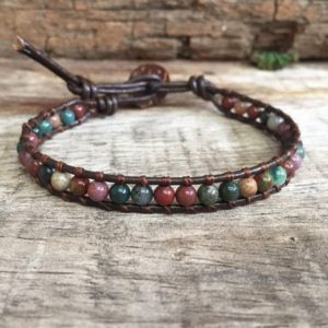 Ocean Jasper Beaded Leather Unisex Bracelet or Anklet | Natural genuine Ocean Jasper bracelets. Buy crystal jewelry, handmade handcrafted artisan jewelry for women.  Unique handmade gift ideas. #jewelry #beadedbracelets #beadedjewelry #gift #shopping #handmadejewelry #fashion #style #product #bracelets #affiliate #ad