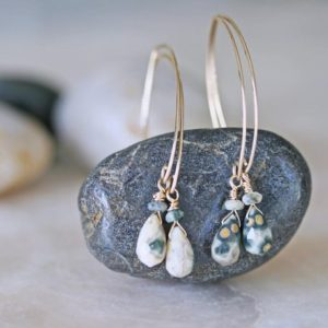 Shop Ocean Jasper Earrings! Ocean Jasper Earrings, Drop Earrings, Natural Stone Earrings, Gold Jasper Earrings, Ocean Jasper Drop Earrings and Gold Filled Hammered Wire | Natural genuine Ocean Jasper earrings. Buy crystal jewelry, handmade handcrafted artisan jewelry for women.  Unique handmade gift ideas. #jewelry #beadedearrings #beadedjewelry #gift #shopping #handmadejewelry #fashion #style #product #earrings #affiliate #ad