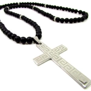 Shop Onyx Necklaces! Onyx Mens Cross Necklace,Stainless Steel Cross,Mens Cross Necklace,Cross Necklace for Men + Gift Box,Mens Beaded Necklace | Natural genuine Onyx necklaces. Buy handcrafted artisan men's jewelry, gifts for men.  Unique handmade mens fashion accessories. #jewelry #beadednecklaces #beadedjewelry #shopping #gift #handmadejewelry #necklaces #affiliate #ad