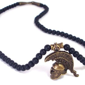 Shop Onyx Necklaces! Onyx Mens Necklace with Spartan Helmet,Pendant Necklace,Mens Necklace,Gift for Men, Mens Gemstone Necklace , Mens Beaded Necklace+ Gift Box | Natural genuine Onyx necklaces. Buy handcrafted artisan men's jewelry, gifts for men.  Unique handmade mens fashion accessories. #jewelry #beadednecklaces #beadedjewelry #shopping #gift #handmadejewelry #necklaces #affiliate #ad