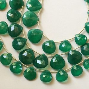 Green Onyx Faceted Heart Beads, 12-19mm Natural Green Onyx Heart Briolettes, Emerald Green Onyx, Green Onyx Necklace, 16 Inch, 27 Pcs- ANT15 | Natural genuine other-shape Gemstone beads for beading and jewelry making.  #jewelry #beads #beadedjewelry #diyjewelry #jewelrymaking #beadstore #beading #affiliate #ad