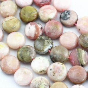 "Shop Opal Beads! Pink Opal Smooth Coin Shape Beads 12mm 15.5"" Strand 