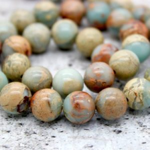 Shop Opal Beads! Snake Skin Jasper/Africa Round Opal Gemstone Beads (4mm 6mm 8mm 10mm 12mm) | Natural genuine beads Opal beads for beading and jewelry making.  #jewelry #beads #beadedjewelry #diyjewelry #jewelrymaking #beadstore #beading #affiliate #ad