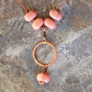 Shop Aventurine Necklaces! Peach Necklace, Natural Stone Necklace, Pink Aventurine Necklace, Hoop Necklace, Copper Necklace, Fall Necklace, Beaded Necklace | Natural genuine Aventurine necklaces. Buy crystal jewelry, handmade handcrafted artisan jewelry for women.  Unique handmade gift ideas. #jewelry #beadednecklaces #beadedjewelry #gift #shopping #handmadejewelry #fashion #style #product #necklaces #affiliate #ad