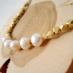 Shop Pearl Bracelets! Pearl Bracelet – June Birthstone – Gold Jewelry – White Freshwater Pearl Gemstone Jewellery – Vermeil – Bride – Wedding B-70 | Natural genuine Pearl bracelets. Buy handcrafted artisan wedding jewelry.  Unique handmade bridal jewelry gift ideas. #jewelry #beadedbracelets #gift #crystaljewelry #shopping #handmadejewelry #wedding #bridal #bracelets #affiliate #ad