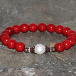 Shop Pearl Bracelets! Red Choral & Fresh Water Pearl Yoga Bracelet, Wrist Mala Buddhist Bracelet, Chakra Meditation Beads, Emotional Balance-Relaxation-Soothing | Natural genuine Pearl bracelets. Buy crystal jewelry, handmade handcrafted artisan jewelry for women.  Unique handmade gift ideas. #jewelry #beadedbracelets #beadedjewelry #gift #shopping #handmadejewelry #fashion #style #product #bracelets #affiliate #ad