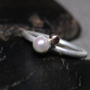 Shop Pearl Rings! Delicate Pastel Pearl 14K Rose Gold Silver Ring Cute June Birthstone Pale Pink Natural Boho Nautical Beach Round Cosmic Orbit – Planet Pearl | Natural genuine Pearl rings, simple unique handcrafted gemstone rings. #rings #jewelry #shopping #gift #handmade #fashion #style #affiliate #ad