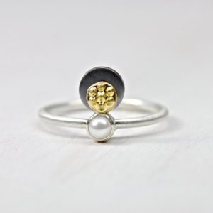 Shop Pearl Rings! Delicate White Pearl 22k Yellow Gold Silver Ring Unique June Birthstone Statement Elegant Feminine Beach Gift Idea For Her – Tahitian Sunset | Natural genuine Pearl rings, simple unique handcrafted gemstone rings. #rings #jewelry #shopping #gift #handmade #fashion #style #affiliate #ad