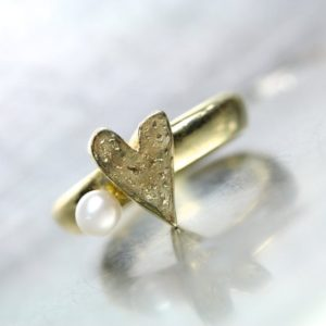 Shop Pearl Rings! Textured Gold Heart Pearl Engagement Ring 14K Yellow June Birthstone Romantic Love Valentine's Day Modern Unique Design – Heart and Pearl | Natural genuine Pearl rings, simple unique alternative gemstone engagement rings. #rings #jewelry #bridal #wedding #jewelryaccessories #engagementrings #weddingideas #affiliate #ad