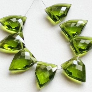 Shop Peridot Faceted Beads! 8 Pcs Peridot Green Hydro Quartz Faceted Fancy Shape Side Drilled Beads, 13x18mm Checker Cut Fancy Shape Hydro, Green Quartz Beads – KS5116 | Natural genuine faceted Peridot beads for beading and jewelry making.  #jewelry #beads #beadedjewelry #diyjewelry #jewelrymaking #beadstore #beading #affiliate #ad