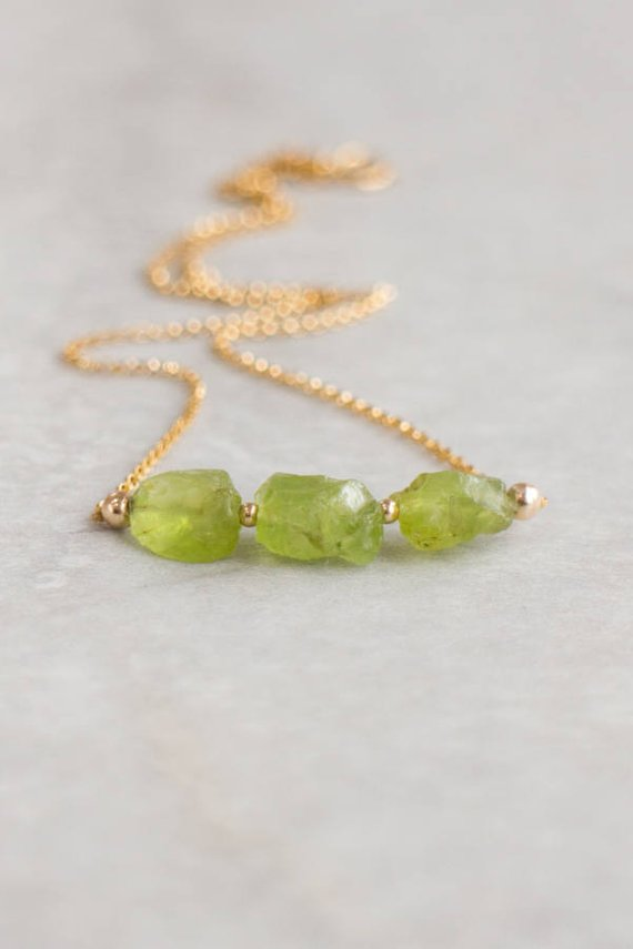 Raw Peridot Necklace, Raw Crystal Necklace, August Birthstone Necklace, Sterling Silver, Rose Gold Necklace, Birthday Gift For Her
