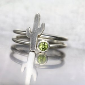Shop Peridot Rings! Saguaro Cactus Green Peridot Ring Set Sterling Silver Arizona Southwest Gemstone Stackable Bands August Birthstone Gift – Carnegiea Gigantea | Natural genuine Peridot rings, simple unique handcrafted gemstone rings. #rings #jewelry #shopping #gift #handmade #fashion #style #affiliate #ad