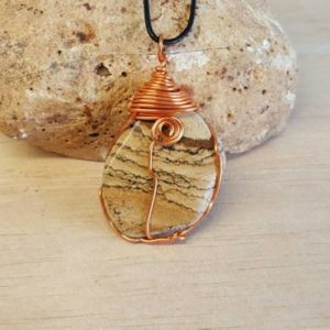Shop Picture Jasper Pendants! Picture Jasper Pendant. Reiki Jewelry Uk. Unisex Copper Wire Wrapped Pendant. | Natural genuine Picture Jasper pendants. Buy crystal jewelry, handmade handcrafted artisan jewelry for women.  Unique handmade gift ideas. #jewelry #beadedpendants #beadedjewelry #gift #shopping #handmadejewelry #fashion #style #product #pendants #affiliate #ad