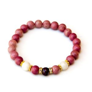 Shop Rhodochrosite Bracelets! Garnet bracelet with Moonstone and Rhodochrosite | Natural genuine Rhodochrosite bracelets. Buy crystal jewelry, handmade handcrafted artisan jewelry for women.  Unique handmade gift ideas. #jewelry #beadedbracelets #beadedjewelry #gift #shopping #handmadejewelry #fashion #style #product #bracelets #affiliate #ad